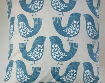 "Cushion Cover in Vintage Blue Scandi Birds 14"" 16"" 18"" 20"""