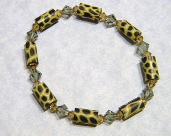 Cheetah Style Fimo Bead and Crystal Stretch Bracelet