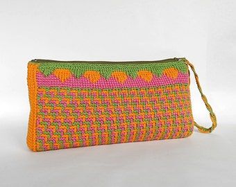 PDF tunisian crochet pattern PRIMAVERA pouch, clutch, bag