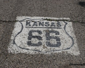 5 x 7 matted photograph, Kansas Route 66 photography