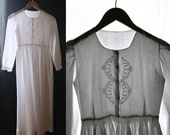 Vintage 1950's White cotton dress, long sleeves, embroidered .Very Small Size XXS