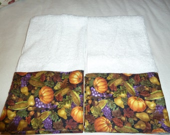 Autumn Bounty Decorative Hand Towels (Set of 2)  for Kitchen, Bath or Powder Room