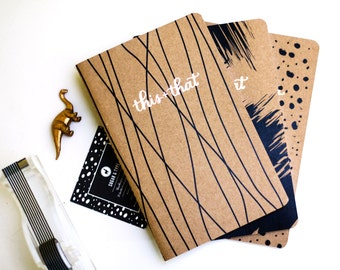 Bujo - Notebook - This and That Sewn Notebook - Stitched Notebook - Bullet Journal - Sketchbook - Gold Foil Notebook - Waves Version
