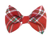 Christmas Flannel Dog Bow Tie; Holiday Dog Bow: Christmas Flannel