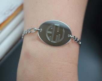 circle monogram bracelet | all stainless steel construction | never tarnishes