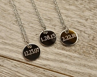"""very small 1/2"""" engraved charm necklace, finest quality stainless steel, sterling or 14kt gold necklace 