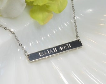 engraved bar necklace, gorgeous quality by ElizaJayCharm
