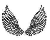 Embroidery Design Feather Wings  - 5 sizes - 11 Formats