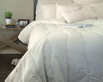 Wool Comforter ~ Queen Size Organic Wool Blanket