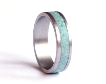 Mens Ring, Titanium Ring, Stainless Steel Wedding Band, Turquoise Wedding Ring,