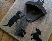 Wall Mount Bottle Opener with Dogs