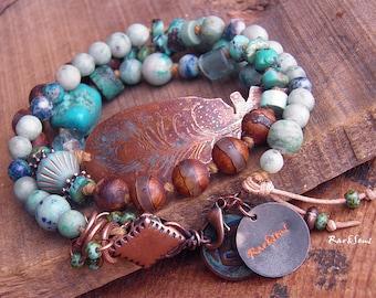 Bohemian bracelet triple ranks-Nomadic hippie bracelet-Bohemian bracelet-turquoise-blue-natural-look rustic-copper feather-turquoise