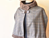 short wool mantle, Sherlock Holmes style, overcoat, short coat with knit hight wool collar, for women and girls