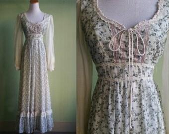 1970's Gunne Sax Dress - 70's Boho Dress - Small - Prairie Hippie Festival