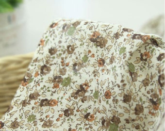 Flowers Cotton Gauze Fabric, Floral Gauze Fabric - Brown - By the Yard 90031