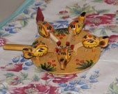 Vintage Easter Wooden Hens & Rooster Pecking Toy, Hand Painted