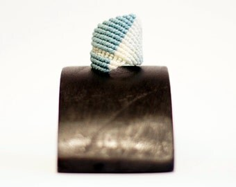 macrame ring · micromacramé ring · sensitive skin ring · shades of blue ring · mint ring · textile ring · macrame jewelry · everyday ring