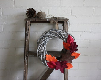 Willow wreath with handcut Autumn felt leaves