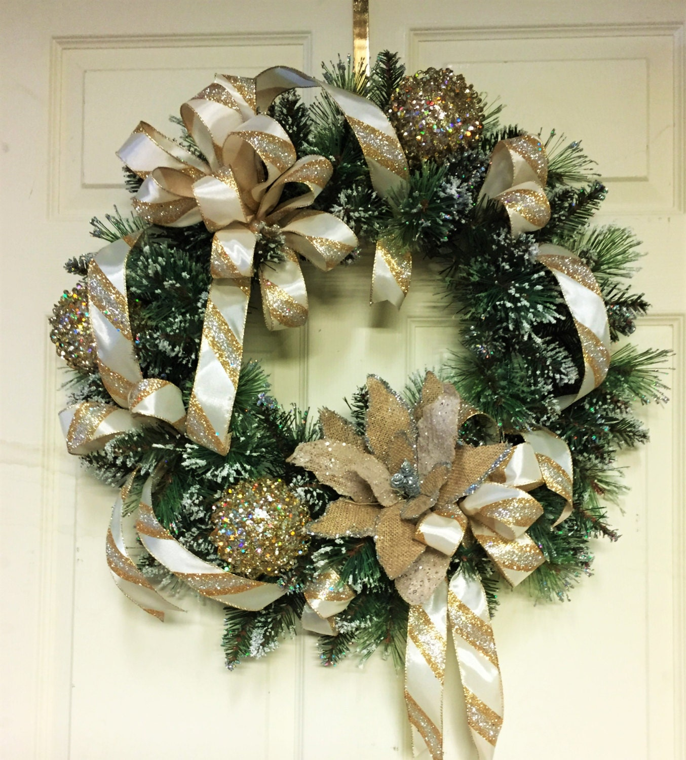 Gold silver and white christmas wreath by cindyssilks on etsy - Silver and white christmas ...