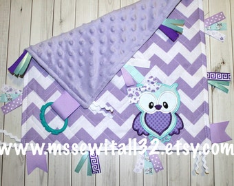 Personalized - Quilted - Chevron - Minky - Baby Lovey Blanket - Sensory Blanket - Tag Blanket - Design Your Own