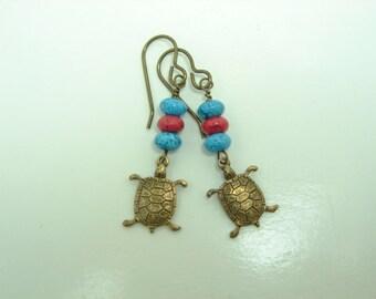 Southwestern Style Earrings, Turtle Earrings,  Dangle Earrings