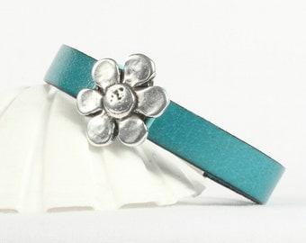 Turquoise leather bracelet, Silver flower slide, Magnetic clasp, CarolMade L90