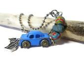 Fordite, Vintage Car Paint, Car Paint Beads, Leland Bluestone, Vintage Car Charm, Metal Car, Lake Michigan, 30 Inch Necklace, Motor Agate