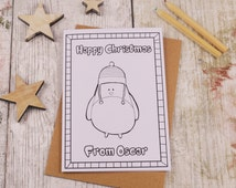 Robin Colouring in Christmas Card, Children's Colour in Card