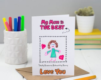 Love You Mum Colouring Card, Happy Birthday card for Mum, Children's Colour in Card