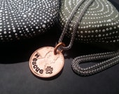 Rescue pet lover hand stamped lucky penny necklace on stainless steel chain by D2E Gallery