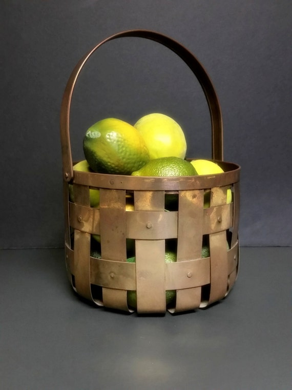 Vintage Brass Basket With Handle India Brass Weaved Riveted Basket