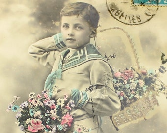Vintage French Children Postcard, Romantic Victorian Antique, Hand Colored Postcard, French Ephemera, French Boy, Sepia Photograph, Epsteam
