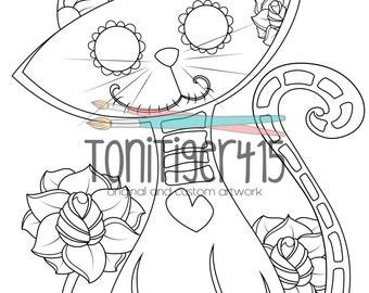 Sugar Skull Cat Drawing, Instant Digital Download Coloring Page, Original Day of the Dead Art, Dia De Los Muertos, Adult Coloring Page