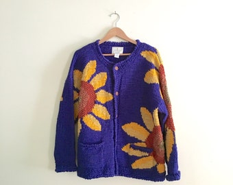 Vintage Hand Knit Wool Sunflower Sweater // Blue & Yellow Oversized Cardigan Jumper // Slouchy Sweater // 1990s