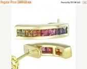 Valentines Day Sale Multicolor Rainbow Sapphire Earrings Hoop Huggie 18K Yellow Gold (2.3ct tw) SKU: 889-18K-Yg