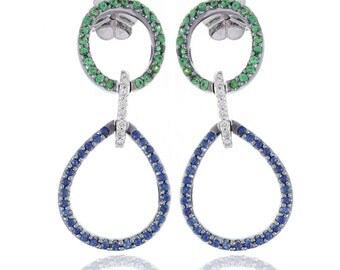 Multicolor Blue Sapphire, Tsavorite Green Garnet & Diamond 18K Gold Earrings (0.92ct tw): SKU C422