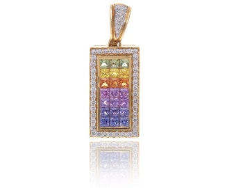 Multicolor Rainbow Sapphire & Diamond Rectangle Pendant 18K Gold (3.61ct tw) SKU: 12321