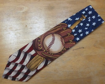 Baseball and US Flag cotton necktie by Beans McGee