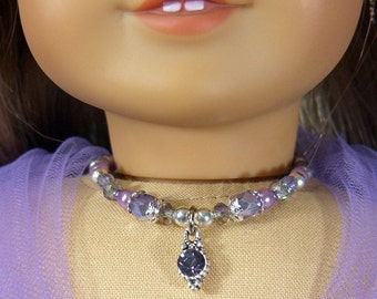 LAVENDER/LILAC Crystal NECKLACE for American Girl Dolls Glass beads, Lea, Elizabeth, Caroline Regency Era