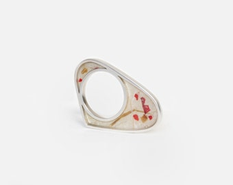 Asymmetric Silver Ring. Sterling Silver and Paper Ring. Geometric Ring