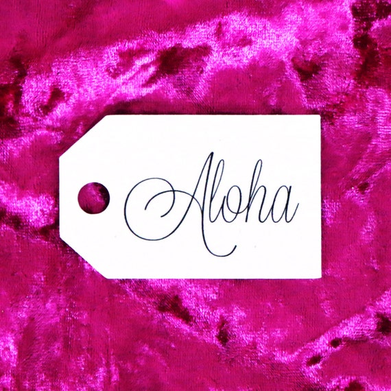 Aloha Favor Tags -  White Hang Tags. Gift Tags. Wedding Favor Tags. Bachelorette Party Tags. Bridal Shower Tags. Hawaiian Themed Party.