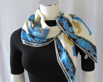 Silk Scarf Butterfly Motif Blue Black Hand Rolled edges