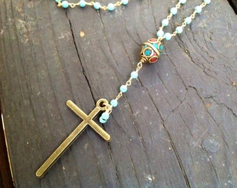 Long Howlite Turquoise beaded necklace, gemstone wire-wrapped rosary necklace, gold turquoise and coral tibetan bead, antique brass cross