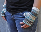 Fingerless Gloves Mitts Rolled Edge Winter Ice colors DIY knitting kit - PDF instant pattern download and materials