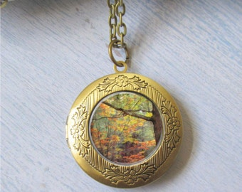 Autumn Tree Necklace, Gold Photo Locket, Tree Pendant