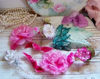 Vintage Set of Millinery Hat Flowers, Old Flowers, Pink Hat Flowers, Millinery Flower Assortment, Millinery Flower Collection, Millinery