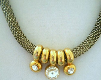 "Necklace Vintage Tubular Silver Mesh with Crystal Slides 18 """