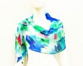 Silk Scarf Wrap Aqua Blue