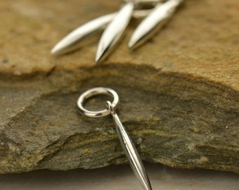 1x~Tiny Sterling Silver Long Pod Dangle