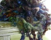 FIESTA - art yarn lockspun Teeswater super chunky handspun novelty yarn to weave knit or crochet. Multicoloured variegated yarn.